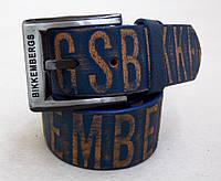 Мужской синий кожаный ремень BIKKEMBERGS