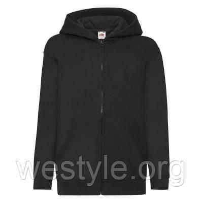 Толстовка на молнии с двойным капюшоном детская - 62045-36 черная