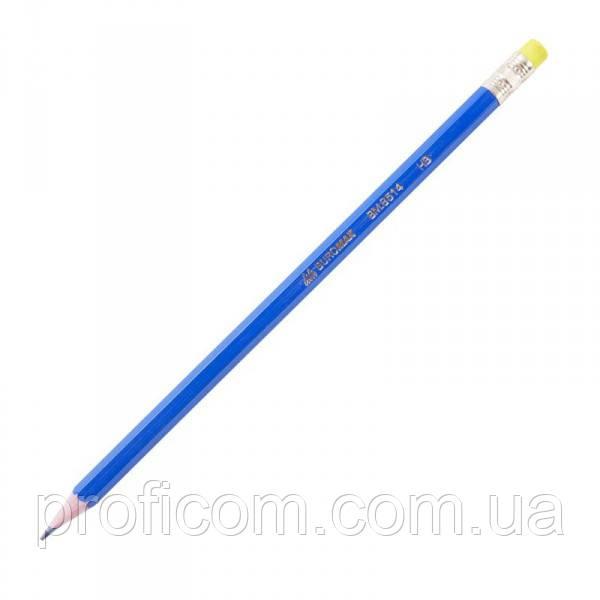 """Олівець простий з ластиком """"BuroMax"""" (синій)"""