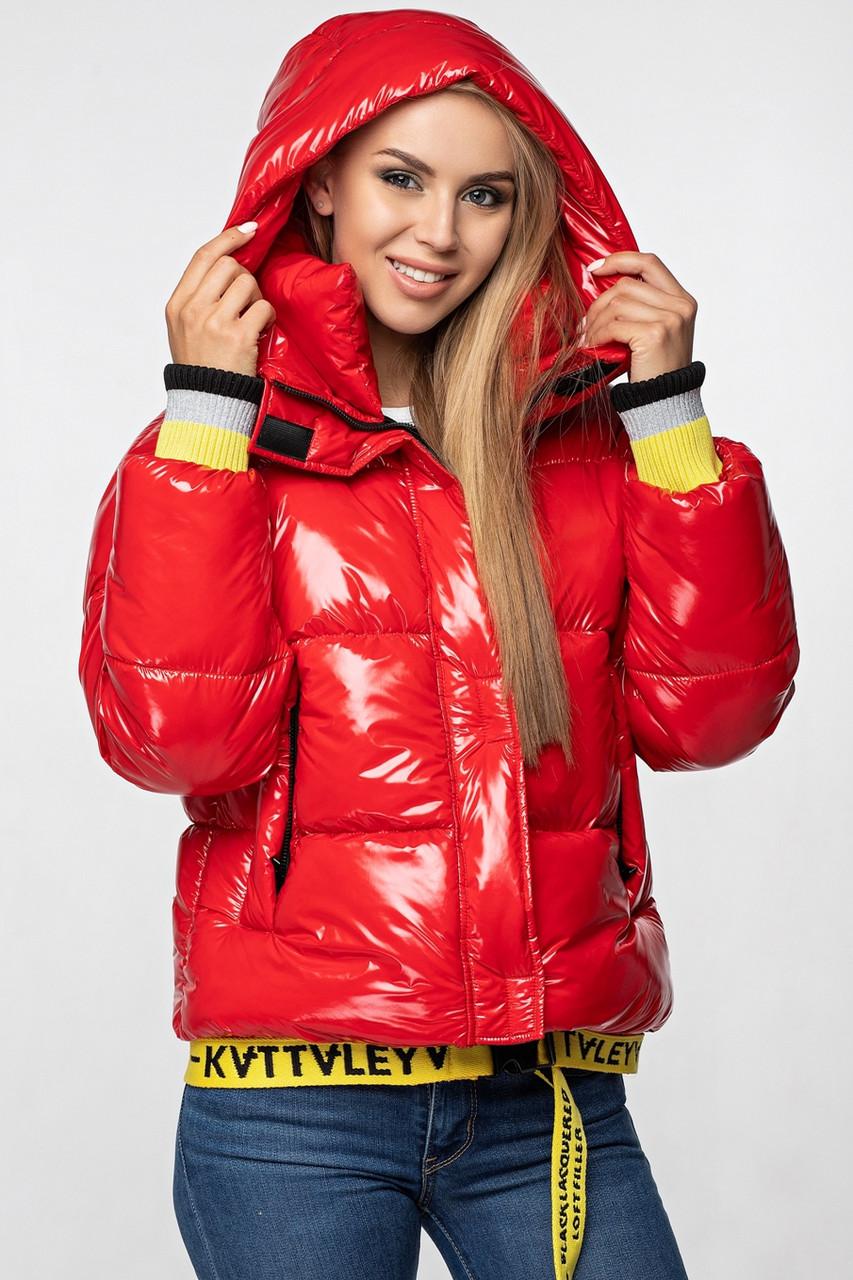 Лаковая женская короткая зимняя куртка KTL-310 (новая коллекция Зима 2019 - 2020) красная