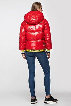 Лаковая женская короткая зимняя куртка KTL-310 (новая коллекция Зима 2019 - 2020) красная, фото 2