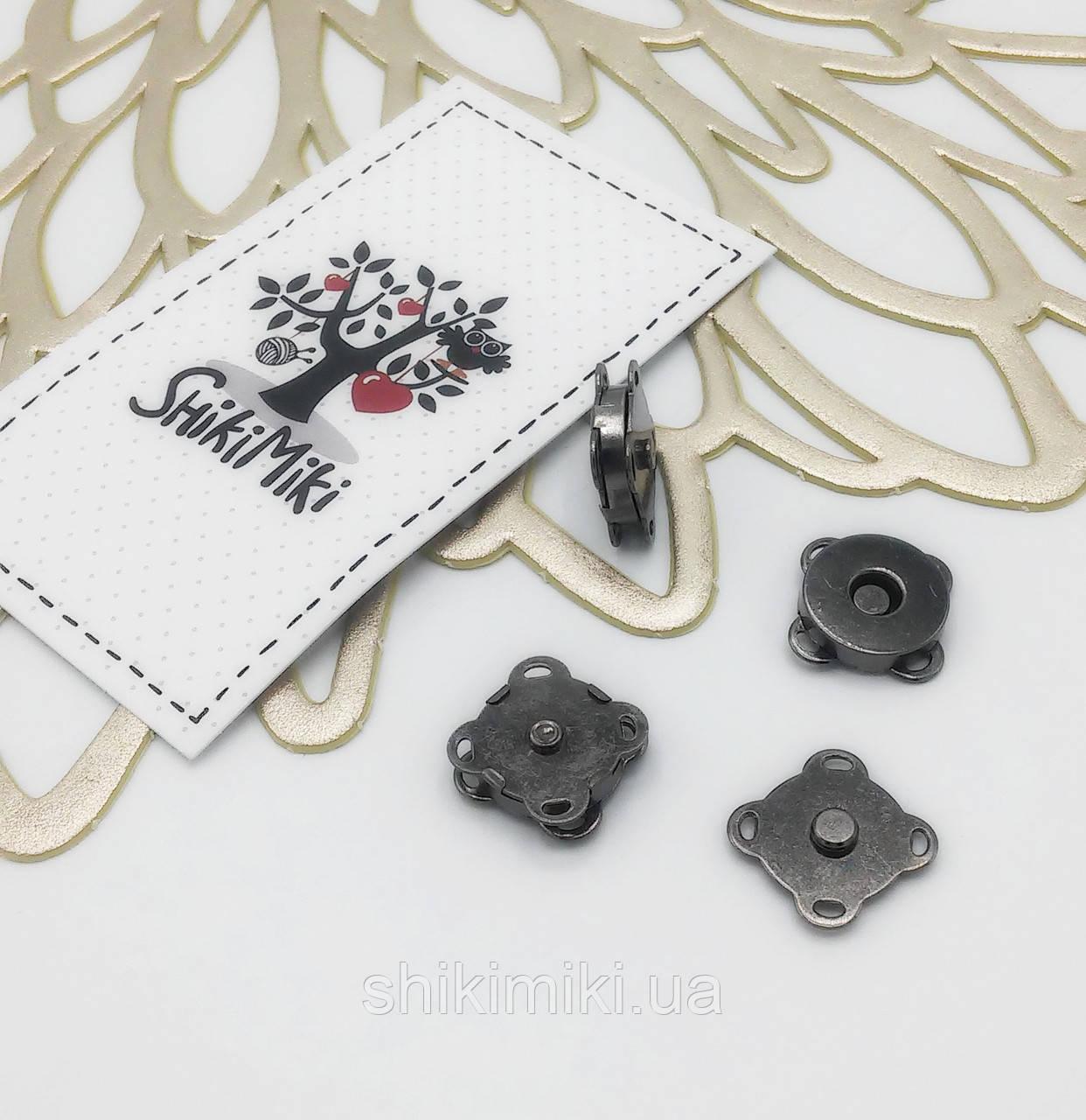 Магнитные кнопки пришивные 14 мм MP02-2, цвет черный никель