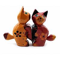 Статуэтка Кошки пара с сердечком дерево (10х7х3 см)