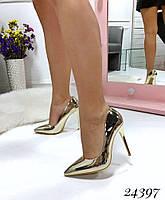 Туфли  женские  лодочки  золотые  каблук 10,5 см, фото 1