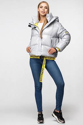 Лаковая женская короткая зимняя куртка KTL-310 (новая коллекция Зима 2019 - 2020) серая, фото 2