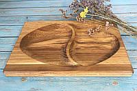 Деревянная дубовая менажница 2 сегмента 30х20 см, фото 1
