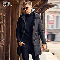 Осенняя классическая куртка-пальто удлиненная, непромокаемая, утеплитель силикон. Подростковая, мужская