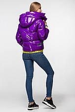 Лаковая женская короткая зимняя куртка KTL-310 (новая коллекция Зима 2019 - 2020) слива, фото 3