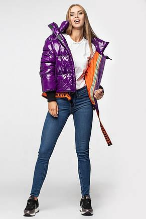 Лаковая женская короткая зимняя куртка KTL-310 (новая коллекция Зима 2019 - 2020) слива, фото 2