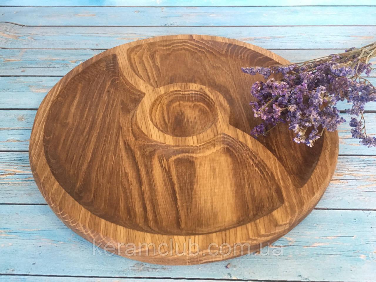 Деревянное блюдо-менажница 3 сегмента d 30 см