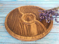 Деревянное блюдо-менажница 3 сегмента d 30 см, фото 1
