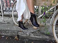 Стильные женские резиновые сапоги Чёрно-белые