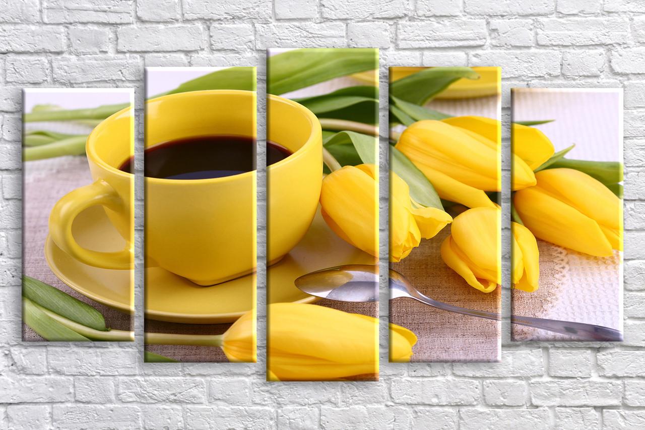 """Модульная картина на холсте """"Кофе с тюльпанами"""""""