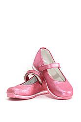 Туфли для девочки розовые из кожи сатин (04097)