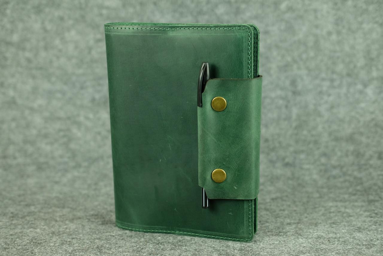 """Обложка для блокнота А5 """"Модель № 2"""" Винтажная кожа цвет Зеленый"""