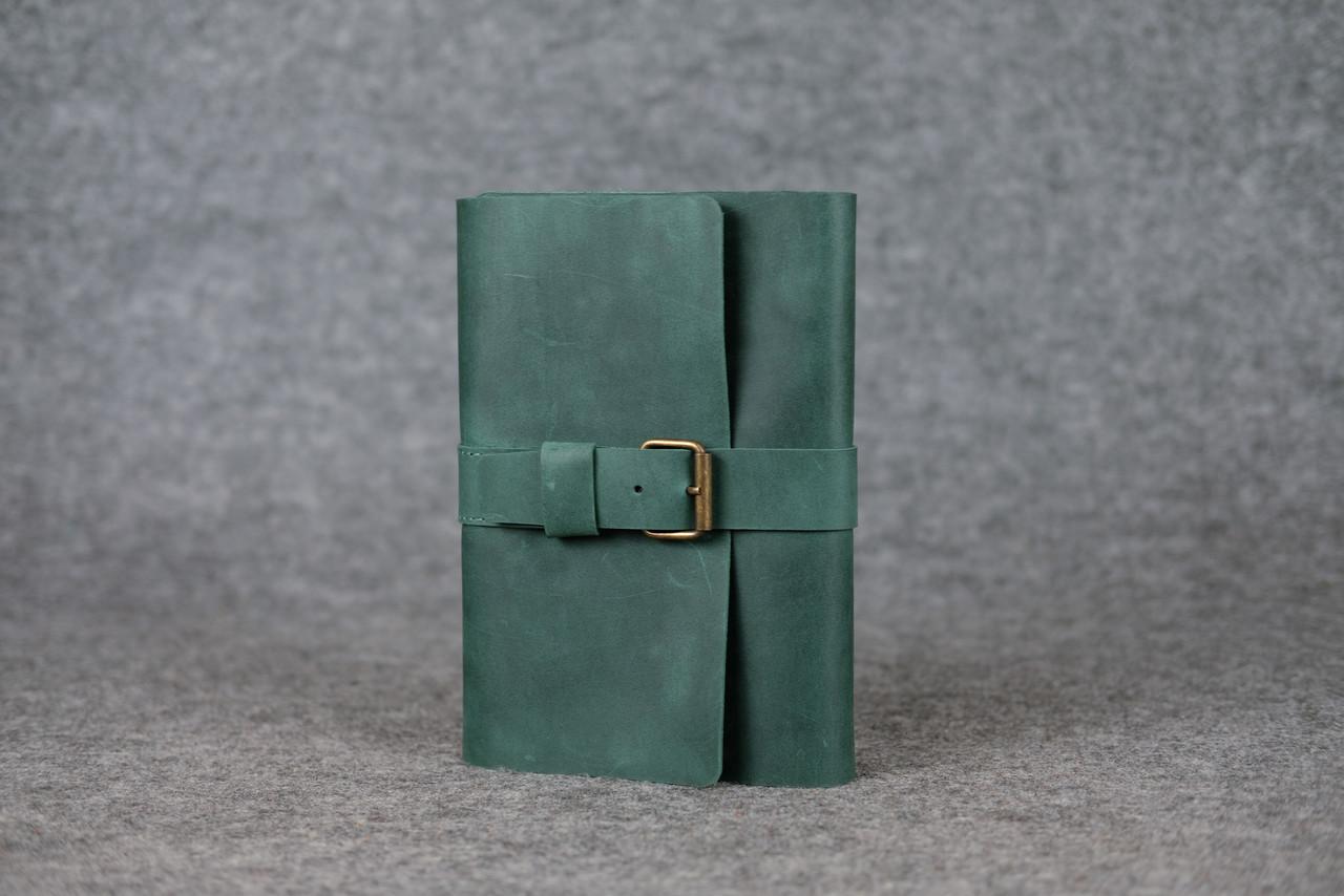 """Обкладинка для блокнот А5 """"Модель № 3"""" Вінтажна шкіра колір Зелений"""