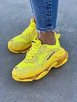 Женские кроссовки Balenciaga Triple S (full yellow), женские желтые кроссовки balenciaga triple s