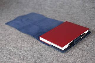 """Обложка для блокнота А5 """"Модель № 3"""" Винтажная кожа цвет Синий, фото 3"""
