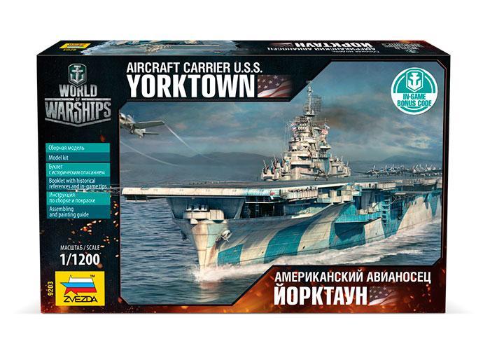 Сборная модель военного корабля. Американский авианосец Йорктаун. 1/1200 ZVEZDA 9203