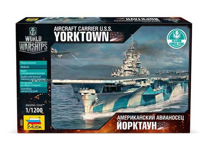 Сборная модель военного корабля. Американский авианосец Йорктаун. 1/1200 ZVEZDA 9203, фото 2