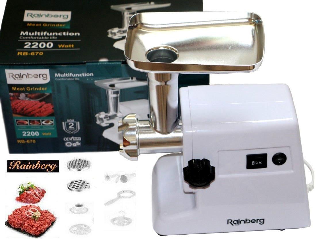 Электрическая мясорубка Rainberg RB-671 2200 Вт с насадками и реверсом, Электромясорубка, мясорубка