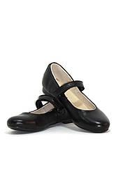 Туфли детские для девочки черные кожаные (0192)