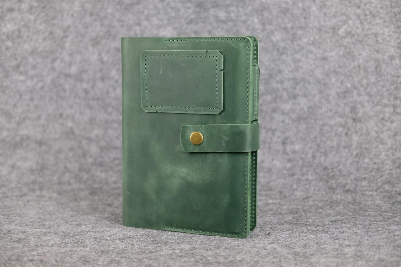 """Обложка для блокнота А5 """"Модель № 4"""" Винтажная кожа цвет Зеленый"""