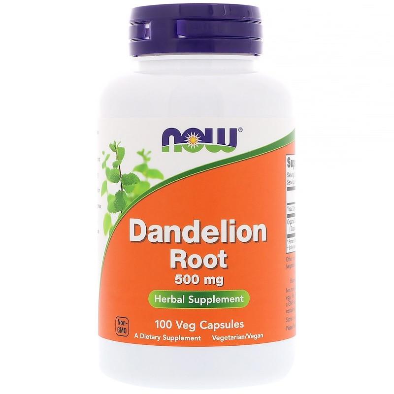 Now Foods, Корень одуванчика, 500 мг, 100 растительных капсул