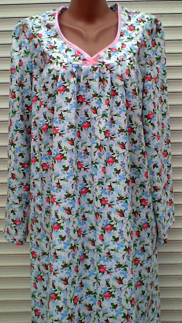 Теплая ночная рубашка из фланели 56 размер