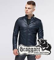 Короткая кожаная куртка Braggart Youth демисезонная темно-синяя