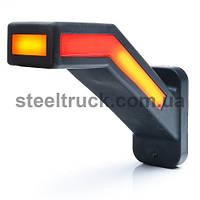 Фонарь габаритный рог LED 12-24V, 19 см, задний габарит - бегущий указатель поворота, левый, (WAS)