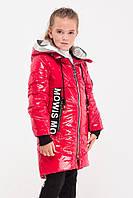 Лаковая, красная удлиненная демисезонная куртка для девочек.