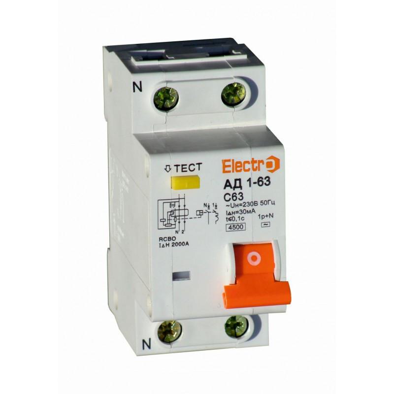 Дифференциальный автоматический выключатель АД1-63 1 полюс+N 10А 30мА 4,5kA