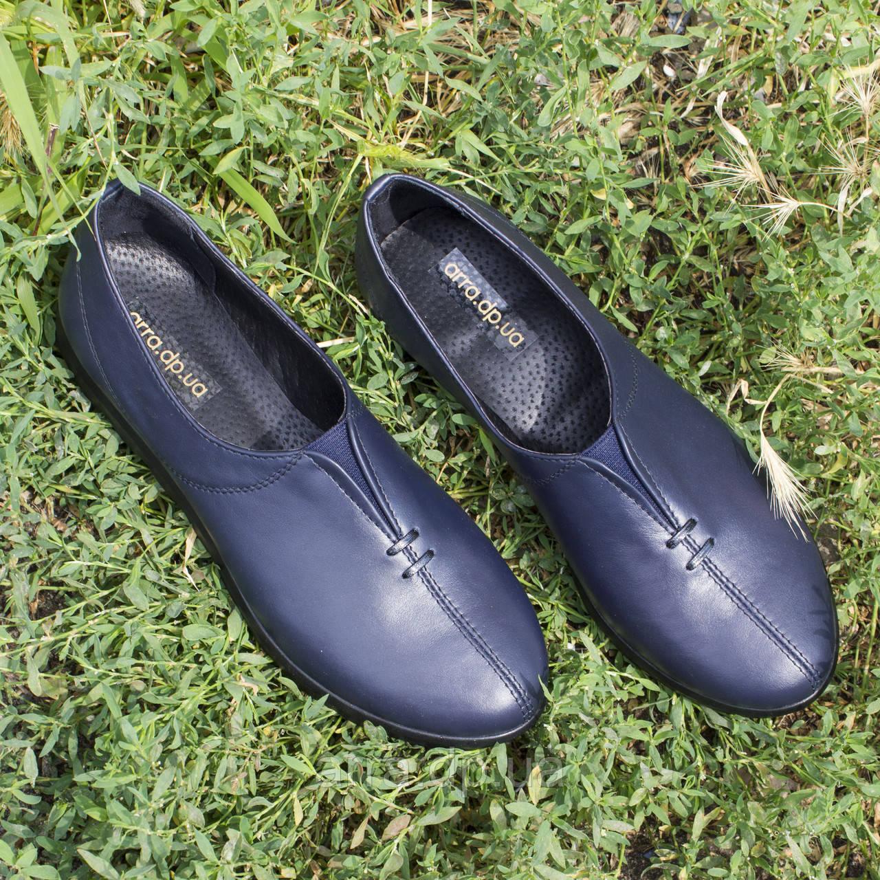 Туфли синие женские классические, натуральная кожа