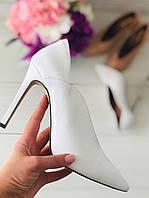 Женские белые кожаные туфли-лодочки на шпильке, 40р