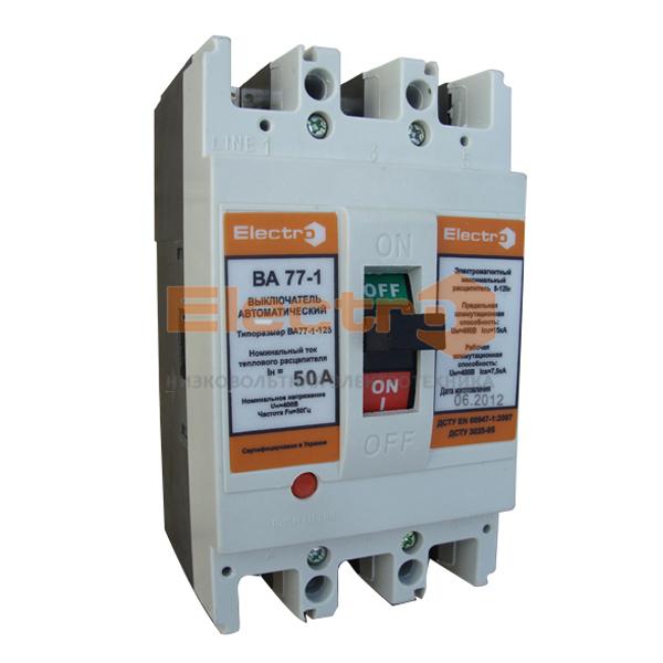 Автоматический выключатель ВА77-1-125 3 полюса 80А Icu 25кА 380В