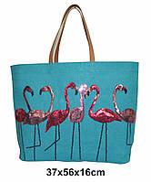 """ЭКО сумки из джутовой ткани """"Фламинго"""""""