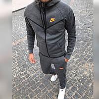 Мужской спортивный костюм трехнитка с начесом теплый осень зима Nike, графит