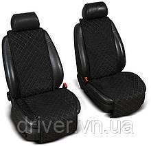Накидки на сидіння ЕКО-замш, 1+1. Чорні (передні, 2 шт)