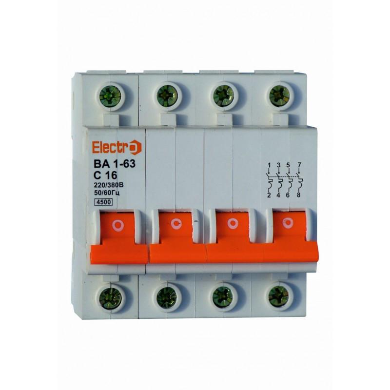Автоматический выключатель ВА1-63 4 полюса 16A 4,5кА х-ка С
