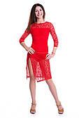 Сукня латина PLT731803 Кармен (44, червоний, з гіпюром, біфлекс)