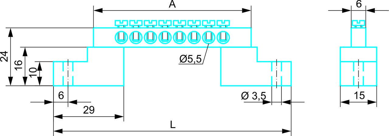 "Нулевая ""N"" шина 6 x 9 с изолятором ""стойка"" на 18 отверстий до 40А"