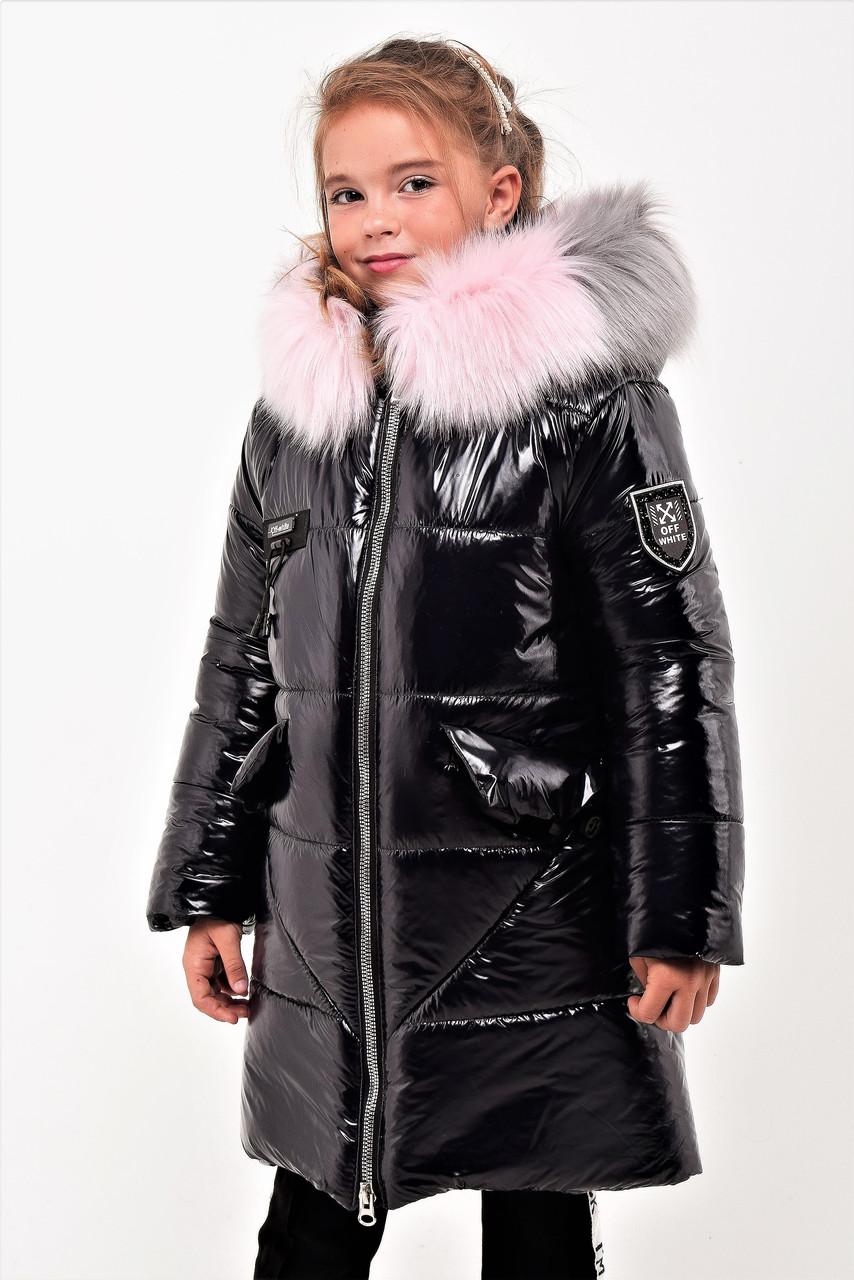 Зимнее пальто из лаковой плащевки для девочки рост 110-130 см