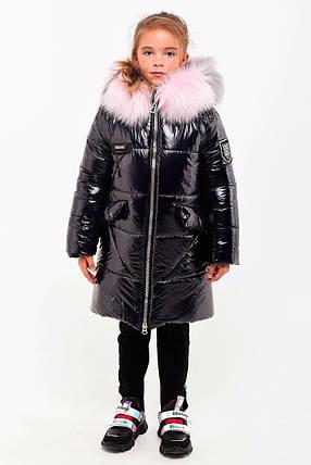 Зимнее пальто из лаковой плащевки для девочки рост 110-130 см, фото 2