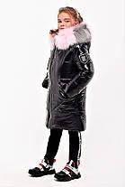 Зимнее пальто из лаковой плащевки для девочки рост 110-130 см, фото 3