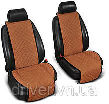 Накидки на сидіння ЕКО-замш, 1+1. Світло-коричниві (передні, 2 шт)