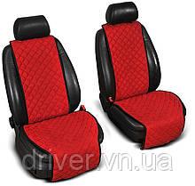 Накидки на сидіння ЕКО-замш, 1+1. Червоні (передні, 2 шт)