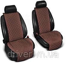 Накидки на сидіння ЕКО-замш, 1+1. Коричневі (передні, 2 шт)