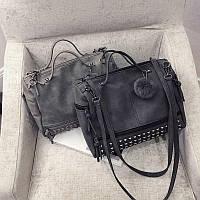 Женская стильная сумка кожзам заклепки европейский стиль темно-серая