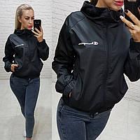 Женская куртка ветровка бомбер Champion с капюшоном и карманами чёрный 42-44 S-M 44-46 M-L